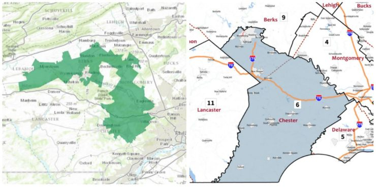 The event will be held in Pennsylvania's sixth congressional district, seen here on the 2011 (left) and 2018 maps.