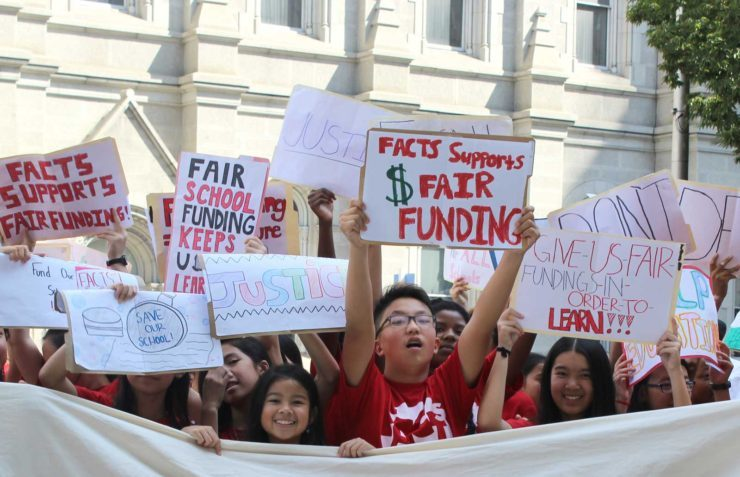 Students protest before oral argument in our school funding lawsuit.