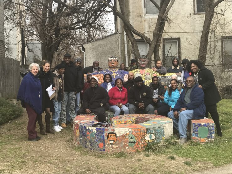 Ebony Griffin (back row, furthest right) and New Jerusalem gardeners, supporters, and residents.