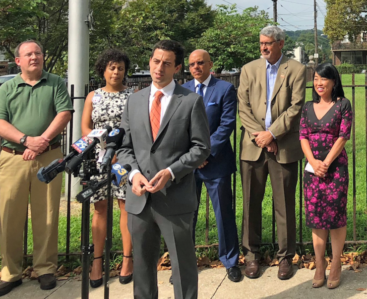 Staff attorney Dan Urevick-Ackelsberg speaking at a press conference advocating for safe school facilities. Students in Philadelphia began the year facing extreme heat in classrooms, leading to early dismissals and lost instructional time.