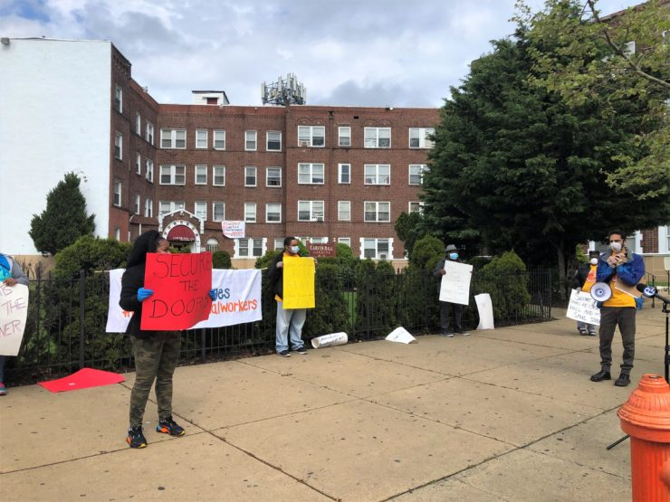 Renters United Philadelphia members at a socially distant protest for safe and secure housing