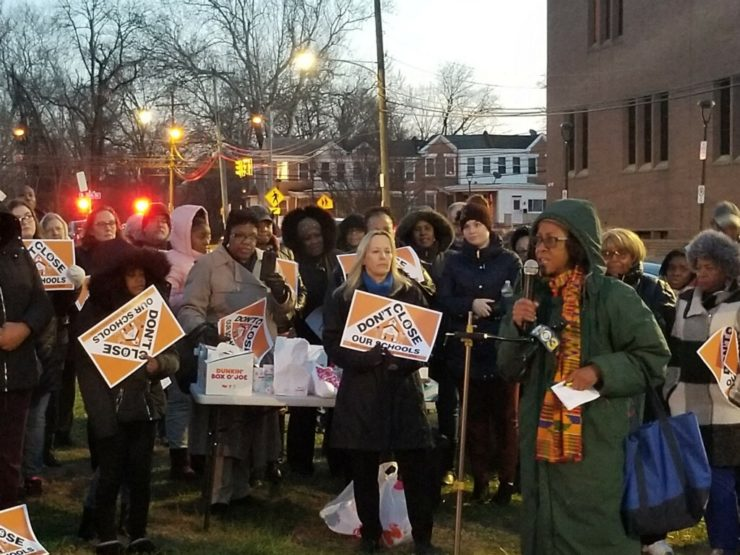 A demonstration for public schools in Chester Upland