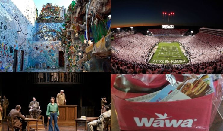 A collage of silent auction items